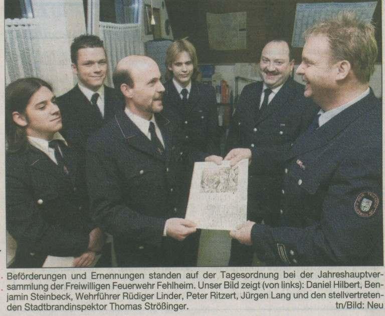 Beförderungen bei der Jahreshauptversammlung 2006